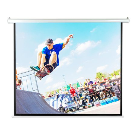 "100"" Motorized Projector Screen, Electronic Automatic Projection Display, Includes Remote Control"