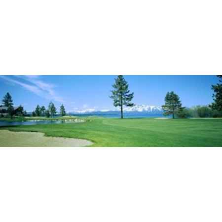 Sand trap in a golf course Edgewood Tahoe Golf Course Stateline Douglas County Nevada Poster Print
