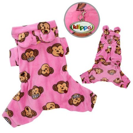 Adorable Silly Monkey Fleece Dog Pajamas / Bodysuit with Hood Color: Pink, Size: Large