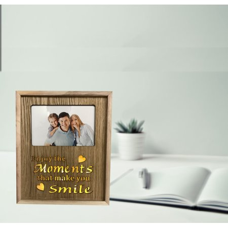 Lighted LED Photo Frame with Enjoy the Moments that make you Smile Message. Wood material. Photo Size: 4