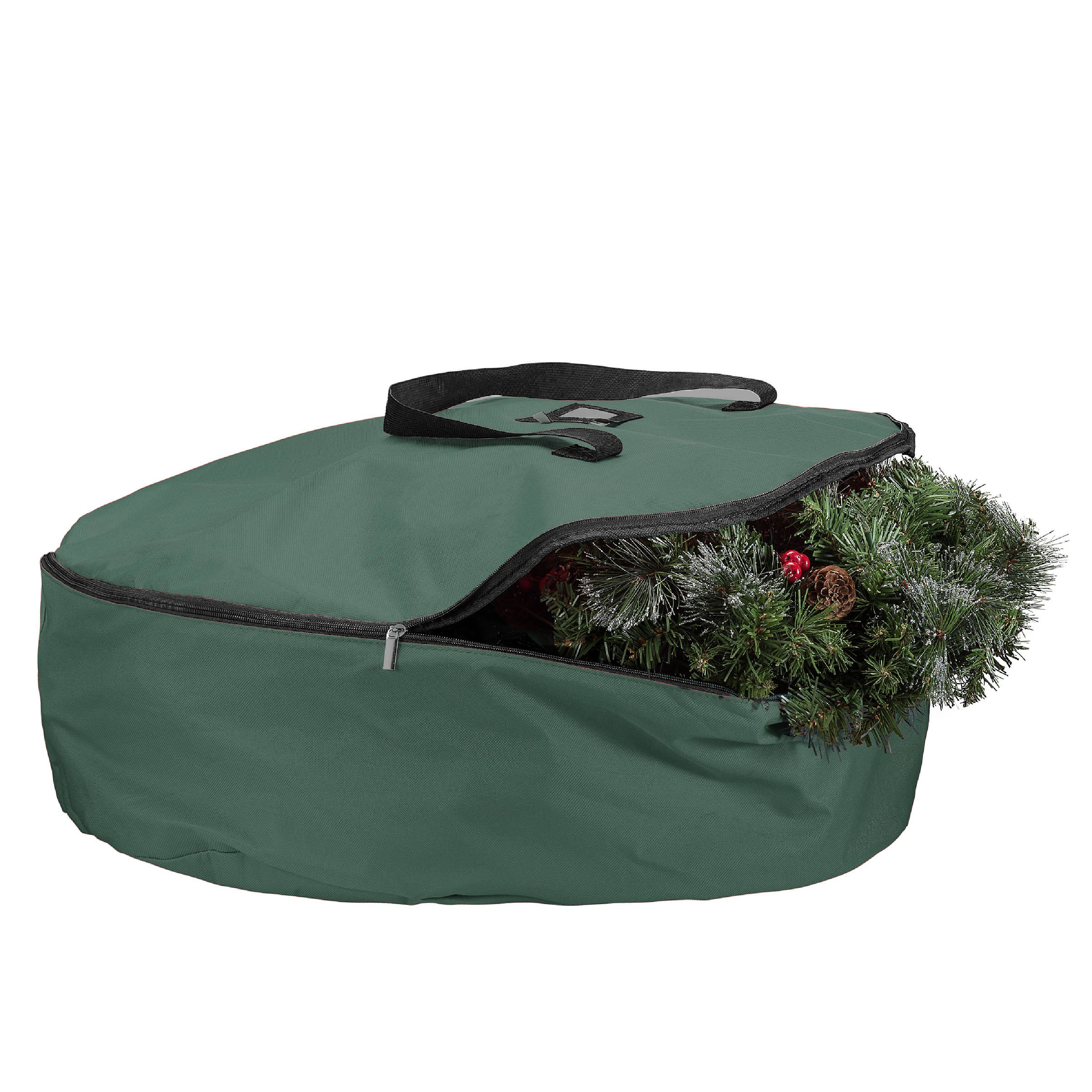 Zober Christmas Wreath Storage Bag - 30 x 30 x 8, 600D Oxford Tear Resistant Fabric Storage Bag with Sleek Zipper Featuring Transparent Card Slot for Labeling - Green