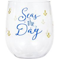 """Pack of 6 Blue and Clear """"Seas the Day"""" Printed Stemless Wine Glasses 3.7"""""""