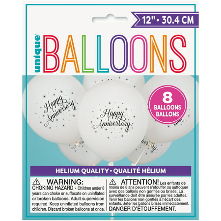 Happy Anniversary Decorations (Latex Happy Anniversary Balloons, White, 12 in,)