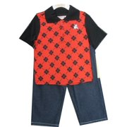 Little Boys Black Red Plaid Polo Shirt Denim 2 Pc Pants Set 2T-4T