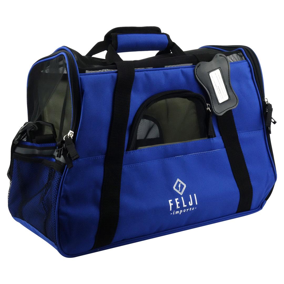 Felji Pet Carrier Cat Dog Airline Approved Fleece Bag Medium Blue