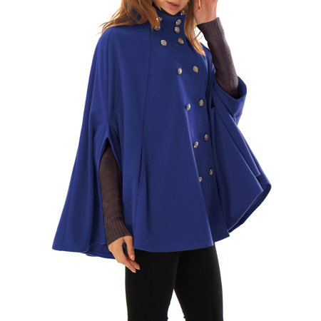 - Women's Stand Collar Open Front Button Double Breasted Worsted Poncho Coat Blue (Size S / 6) Blue S (US 6)