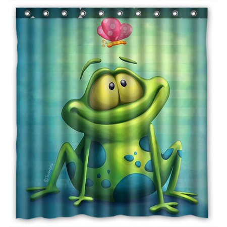 GCKG Frog Bathroom Shower Curtain, Shower Rings Included 100% Polyester Waterproof Shower Curtain 66x72 Inches ()