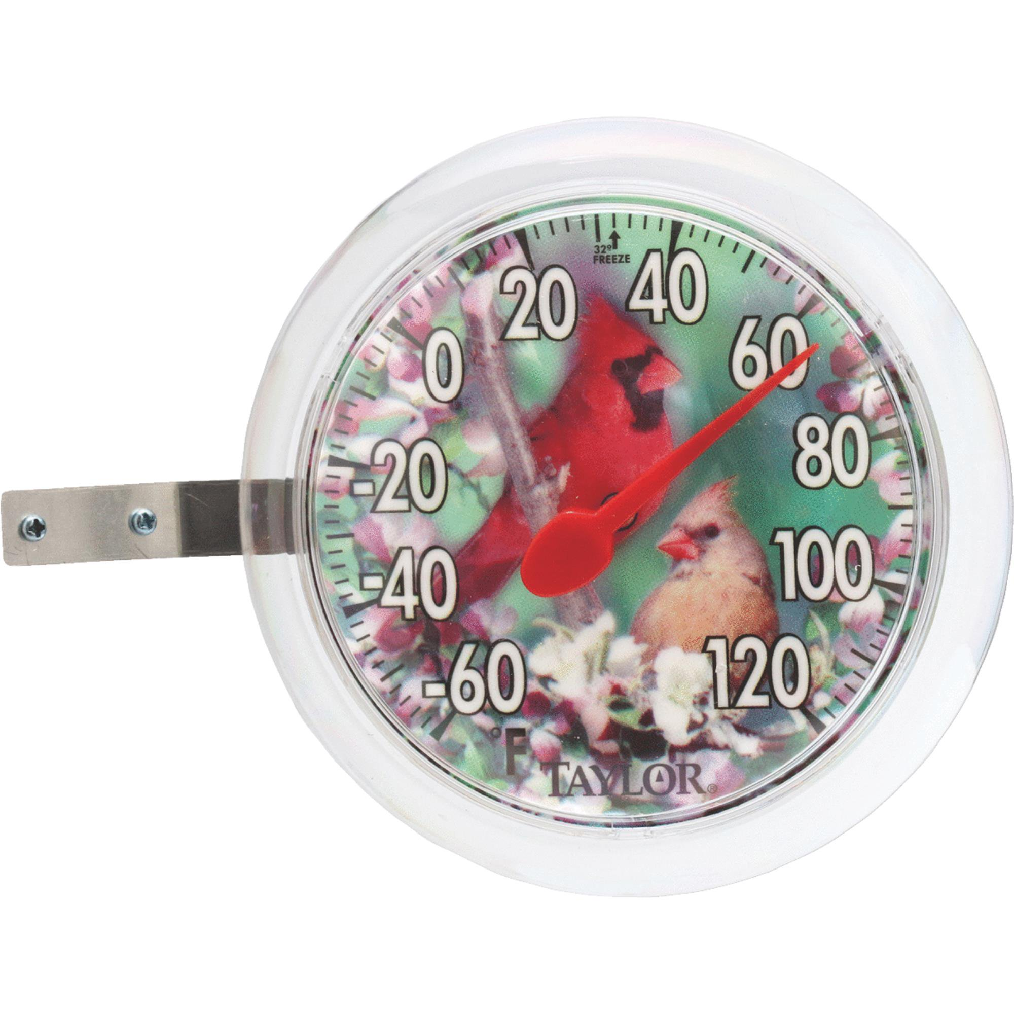 Cardinal Bunting Dial Outdoor Wall Thermometer