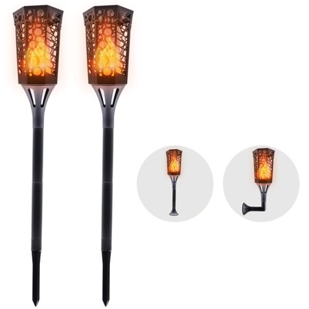 Solar Lights Outdoor Flickering Flame Lights Torch Lights 96 LED 3 Installation Way Waterproof Landscape Decoration Lighting Dusk to Dawn Security Path Lights for Patio Garden Home 2