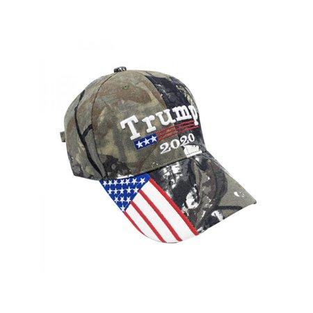 VICOODA New 2020 American Flag Camo Trump Hat Election Baseball Cap Patchwork Cotton Hat Headwear Outdoor Sportswear Adjustable Back (American Flag Made Of Baseballs For Sale)