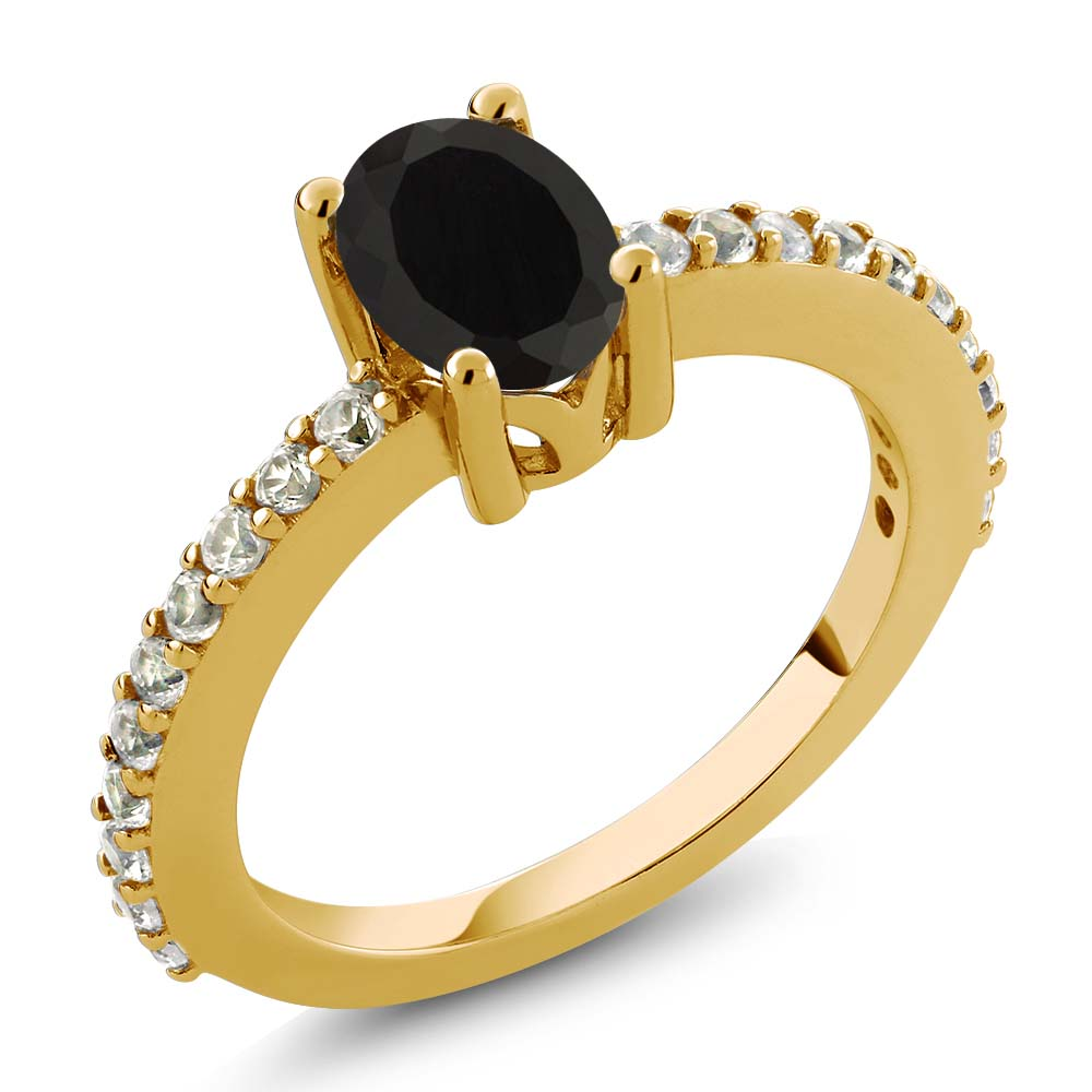 1.10 Ct Black Onyx White Created Sapphire 18K Yellow Gold Plated Silver Ring