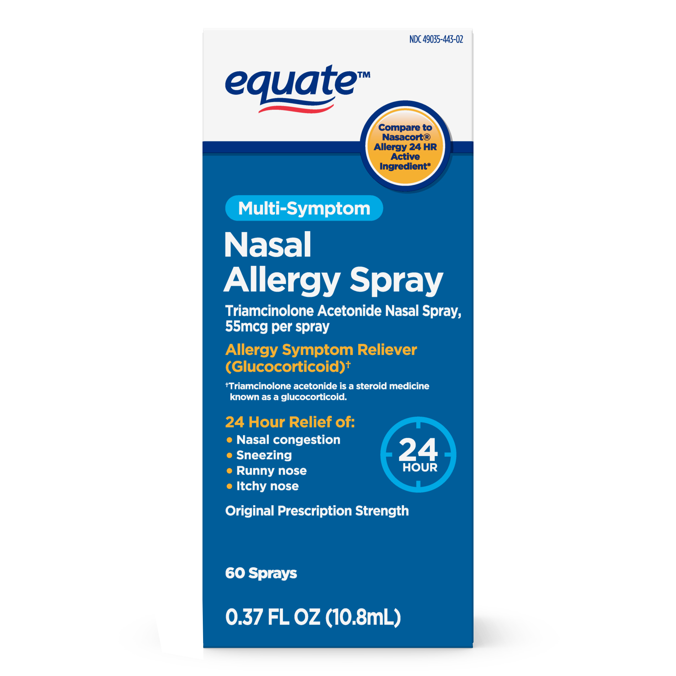 Equate Multi-Symptom Nasal Allergy Spray, 60 Sprays, 0.37 fl oz