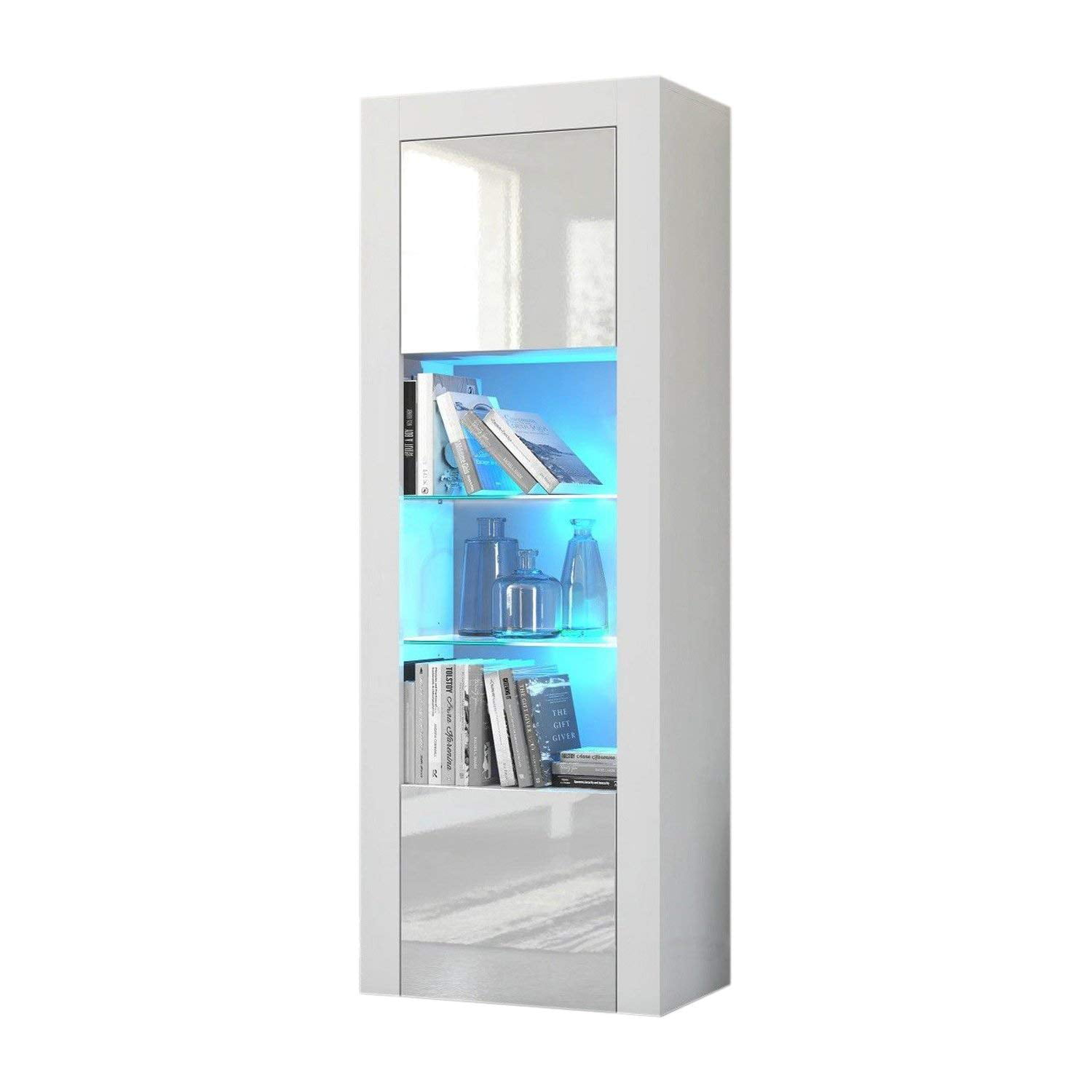 Milano Bookcase Matte Body & High Gloss Fronts (White