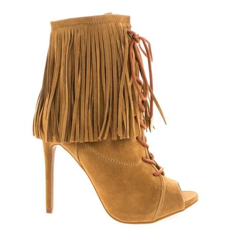 Pompeo by Shoe Republic, Boho Peep Toe Fringe Ankle Boots w/ Corset Lace Up High Heel Shoes