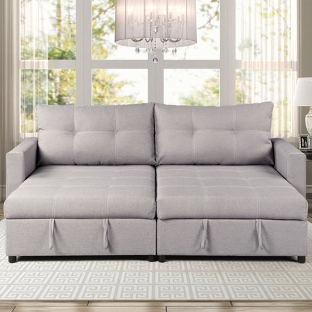 Robin Polyester Sofa Chaise with 2 Storage Compartments, Gray ()