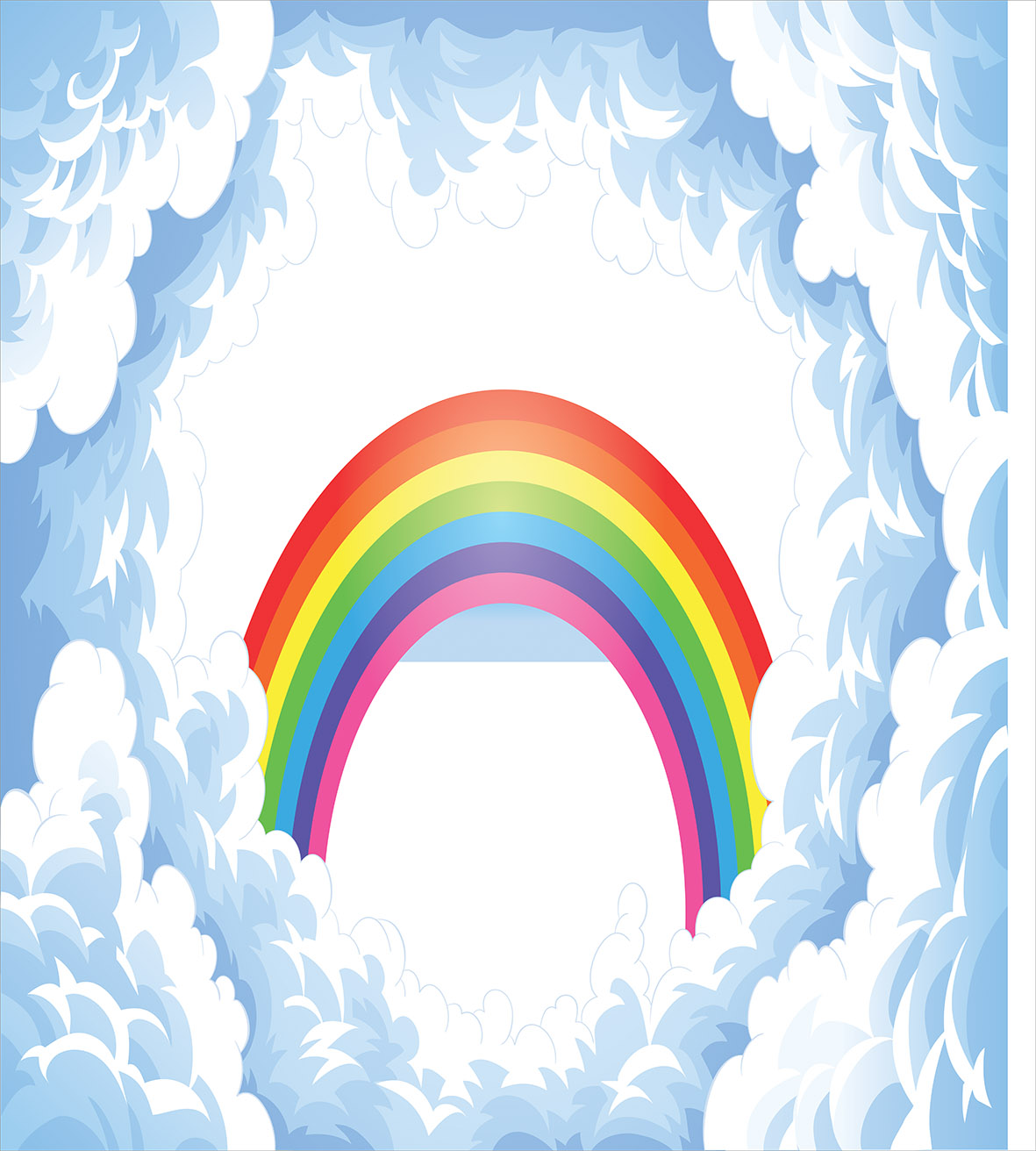 Cartoon Duvet Cover Set, Rainbow above Fluffy Cute Romantic Clouds for Kids Nursery Art, Decorative Bedding Set with Pillow Shams, Baby Blue White Red Yellow Pink, by Ambesonne