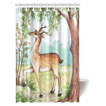 MYPOP Watercolor Painting Decor Shower Curtain, Whitetail Antlers in Tropical Trees Forest Fabric Bathroom Shower Curtain Set with Hooks, 48 X 72 Inches Whitetail Shower Curtain Hooks