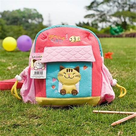 Kids Embroidered Backpacks (K-152-CAT 7.9 x 8.7 x 2.4 in. Smile Cat - Embroidered Applique Kids School Backpack & Outdoor)