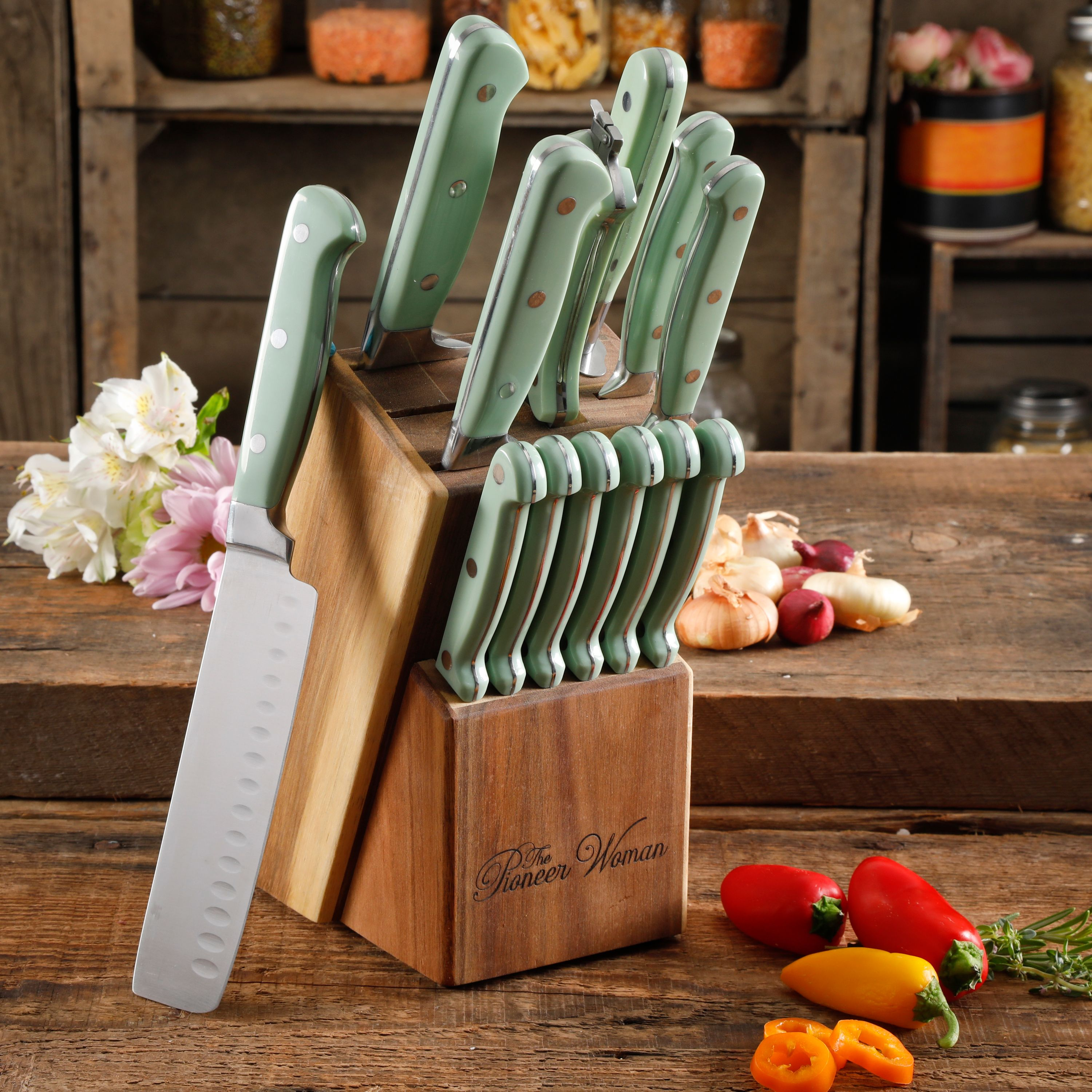 The pioneer woman cowboy rustic mint 14-piece cutlery set