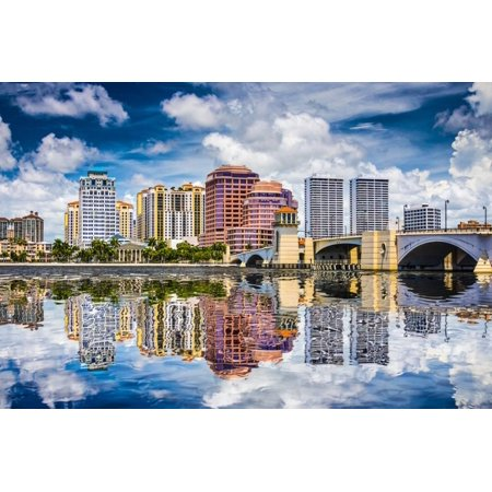 West Palm Beach Florida Usa Downtown Over The Intracoastal Waterway Print Wall Art
