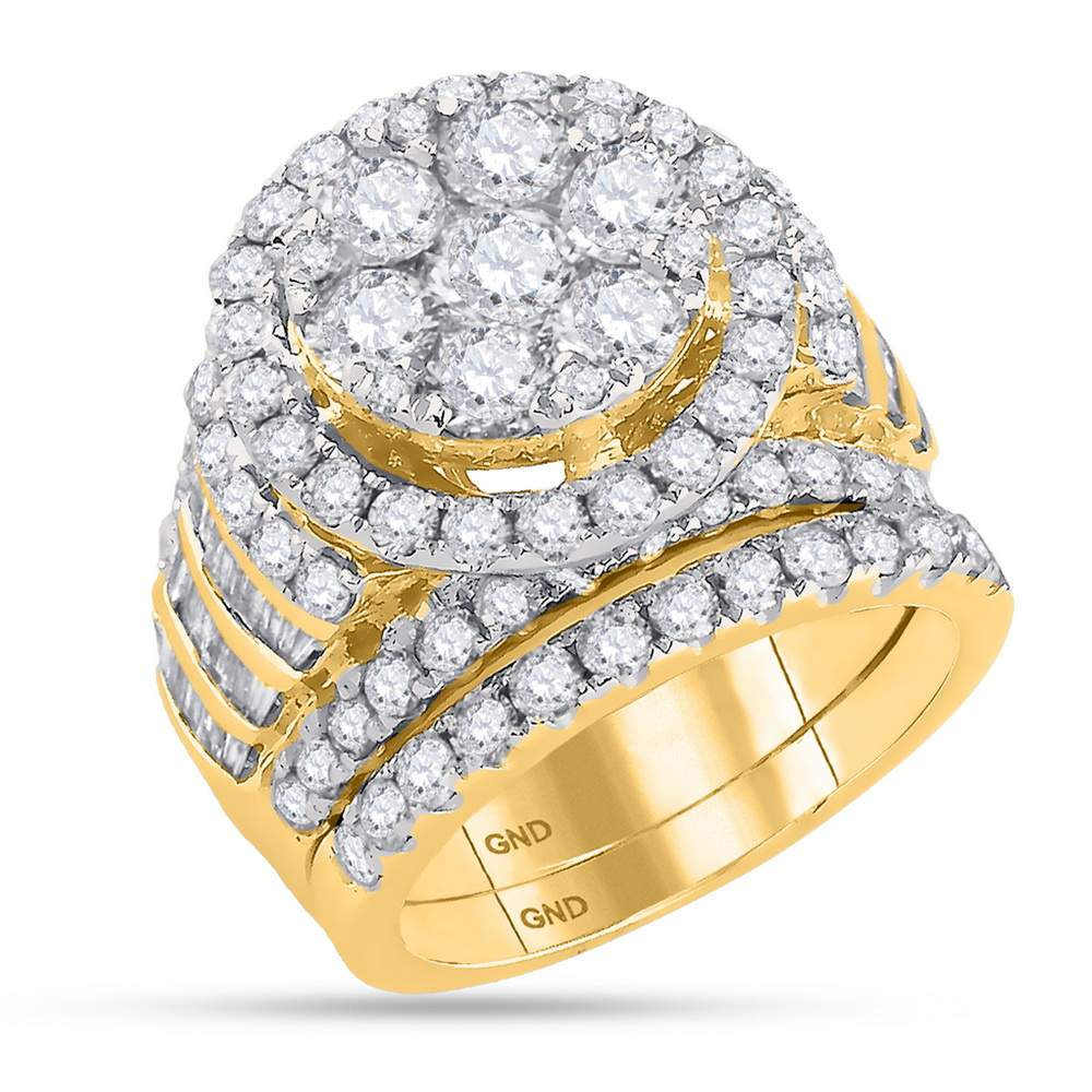 14kt Yellow Gold Womens Round Diamond Bridal Wedding Engagement Ring Band Set 4-7 8 Cttw by