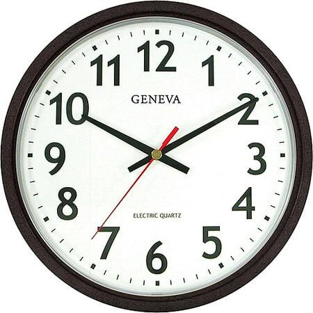 Geneva Electric Wall Clock Black Walmart Com