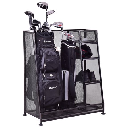 Goplus Dual Golf Organizer Storage Rack Fit 1-2 Golf Bags Clubs
