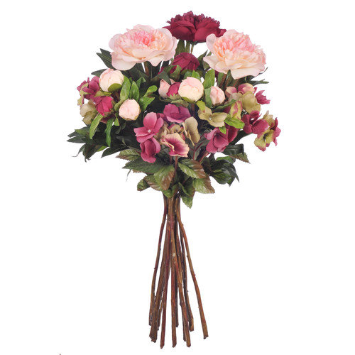 House of Silk Flowers Inc. Artificial Peony and Hydrangea Natural Bouquet