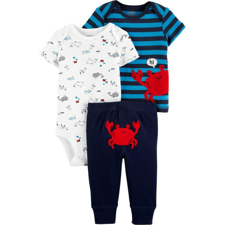 Short Sleeve T-Shirt, Bodysuit, and Pants, 3 Piece Outfit Set (Baby Boys)