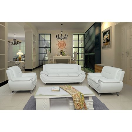 US Pride Furniture Timmy T Faux Leather 3 Piece Living Room Set, Cream White