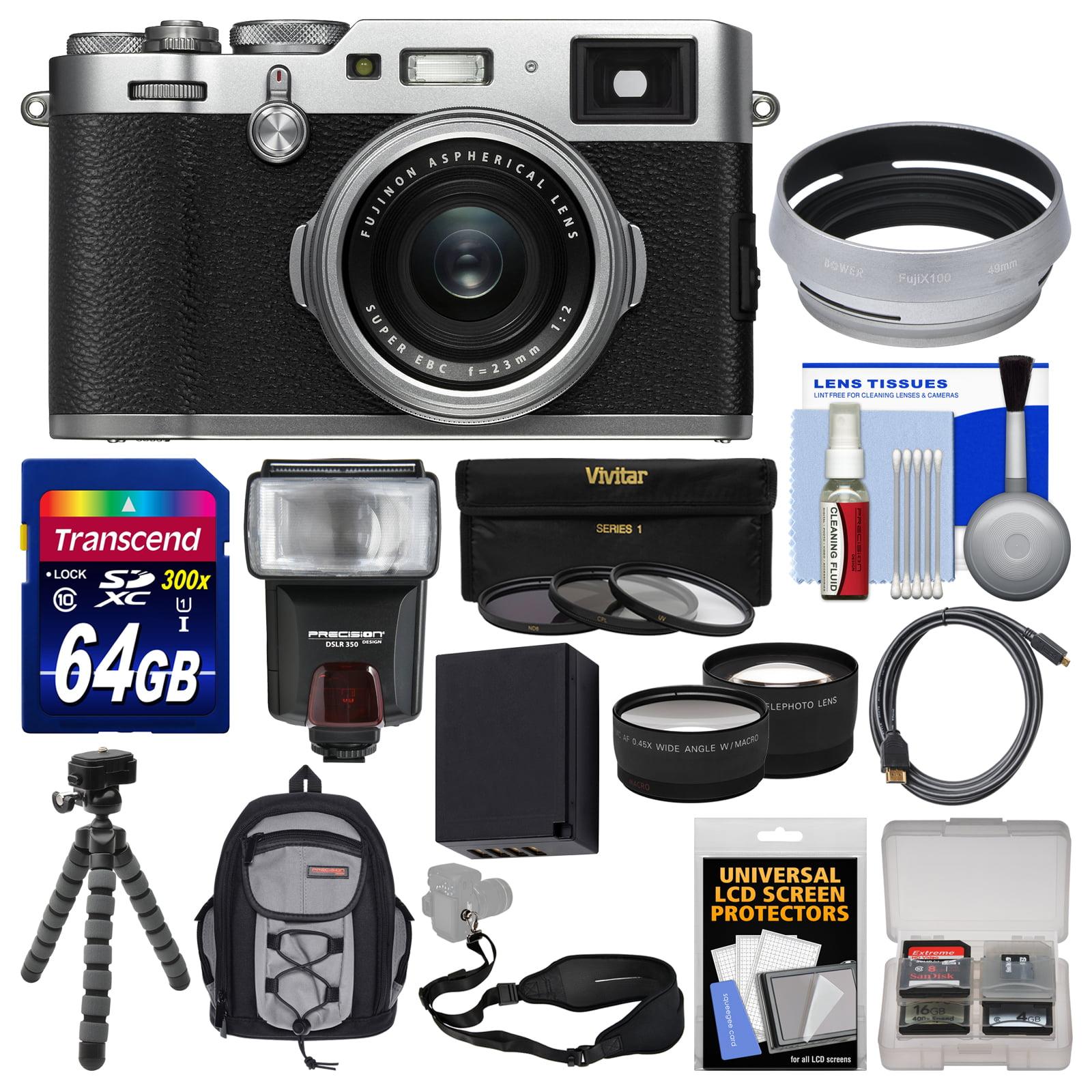 FujiFilm X100F Wi-Fi Digital Camera (Silver) with 64GB Card + Backpack + Battery + Flash + Tripod + Filters +... by Fujifilm