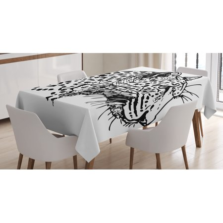 Jungle Themed Table Covers (Sketchy Tablecloth, Hand Drawn Jaguar Profile Wildlife Jungle Animal African Safari Theme Artwork, Rectangular Table Cover for Dining Room Kitchen, 52 X 70 Inches, Black White, by)