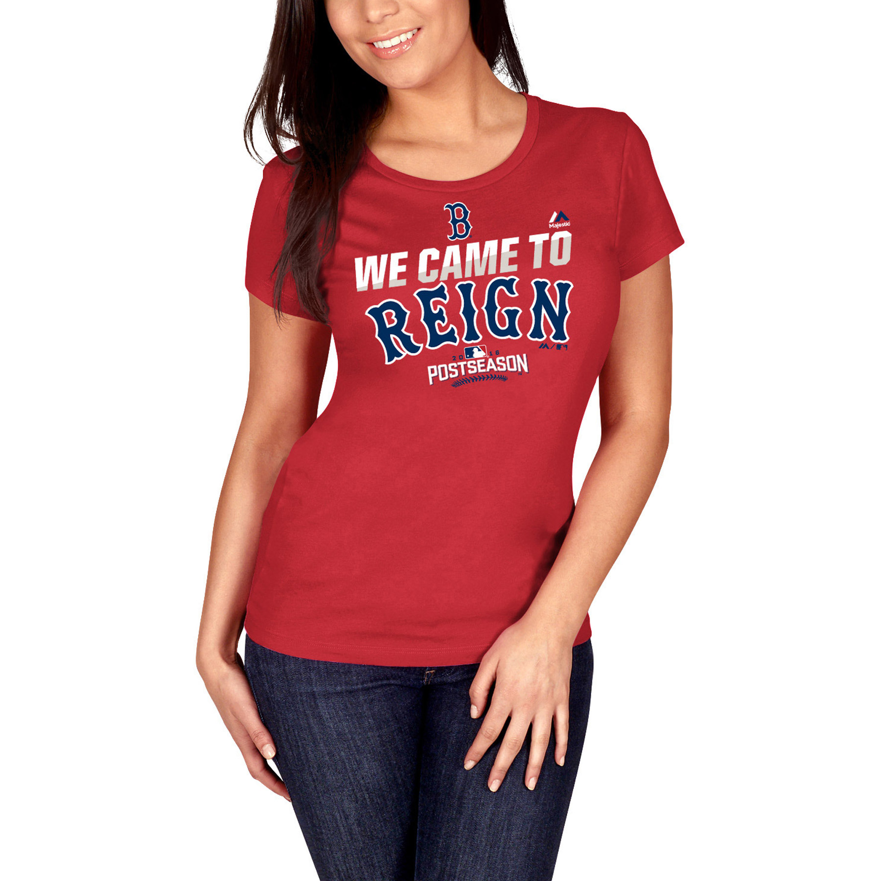 Boston Red Sox Majestic Women's Authentic Collection Postseason Participant We Came To Reign T-Shirt - Red