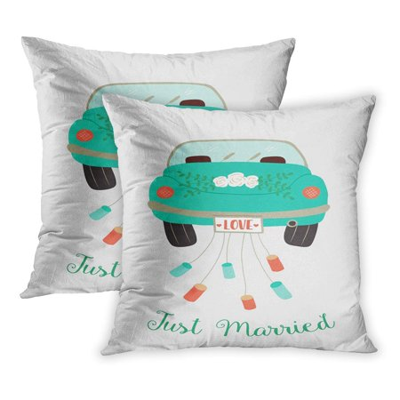 ECCOT Vintage of Cute Wedding Car Decorated Roses and Just Married Text Bridal Cans Cartoon Celebration PillowCase Pillow Cover 16x16 inch Set of 2 (Wedding Car Decorate)