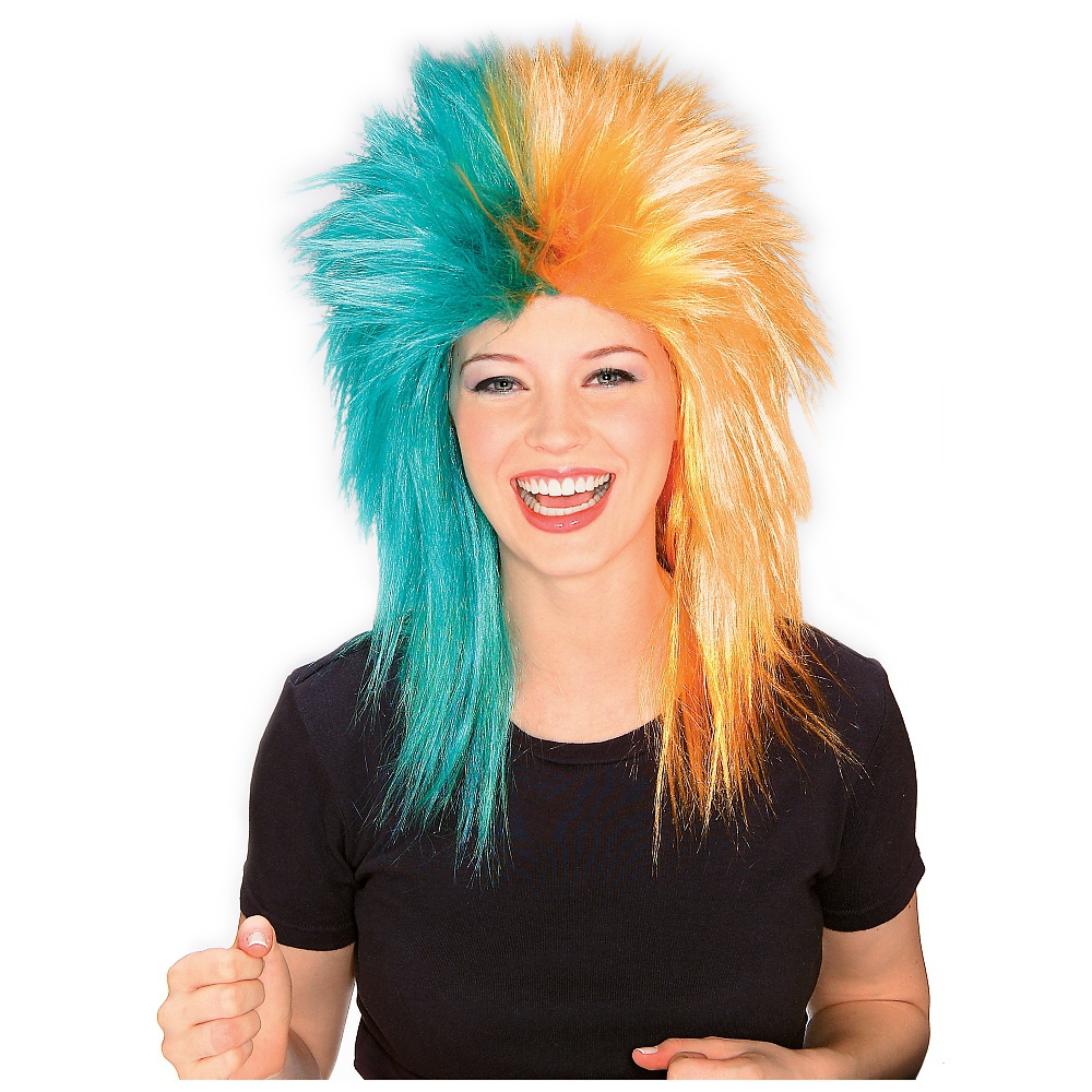 Sports Fanatix Wig Adult Costume Accessory Teal andamp; Orange Sports Fanatic Wig Miami Dolphins
