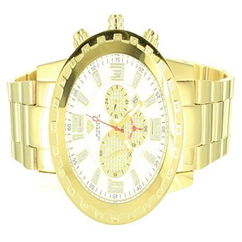 Gear Style 14K Yellow Gold Finish White Dial Aqua Master Khronos Metal Watch