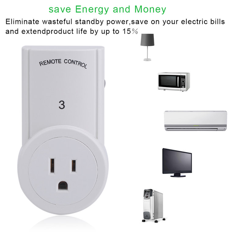 2 Pcs Remote Control With 3 Pcs Smart Wireless Power Outlets Light Switch Socket White White