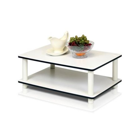 Just 2-Tier No Tools Coffee Table, White with White Tube - 8.8 x 23.6 x 15.6 in. ()