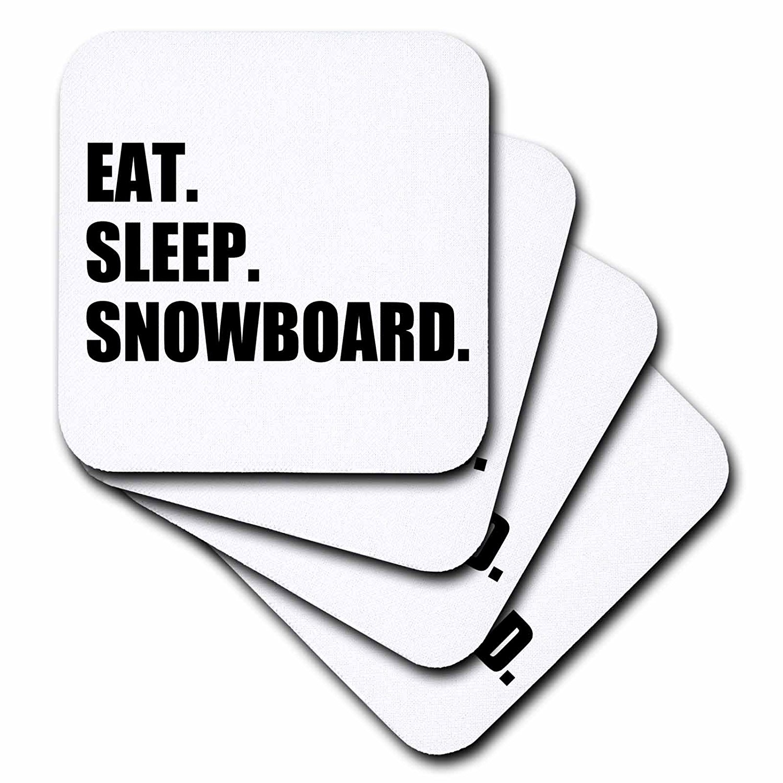 3dRose Eat Sleep Snowboard snowboarding enthusiast fun snowboarder sport, Soft Coasters, set of 4 by 3dRose