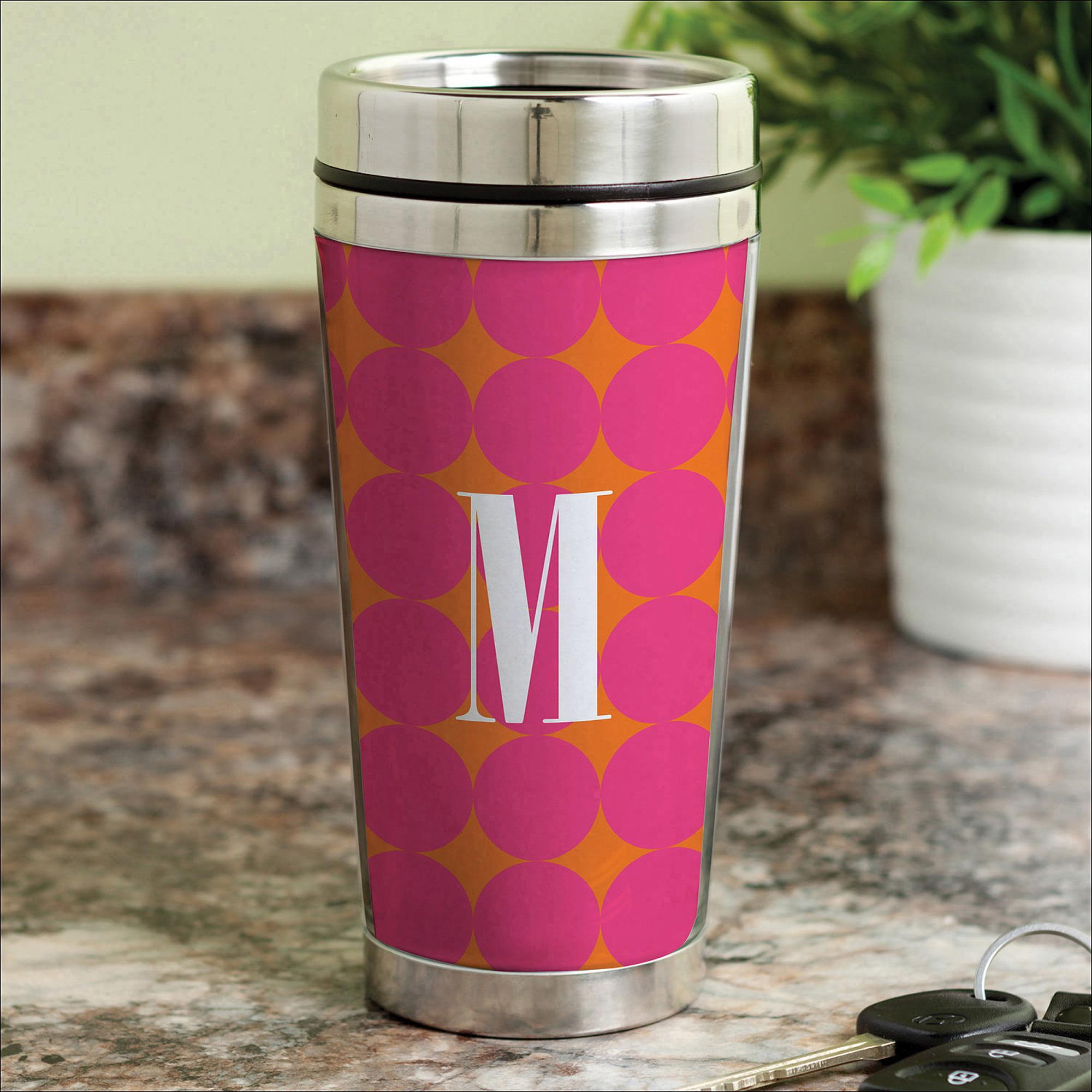 Personalized Pink Polka Dots Travel Mug