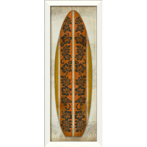 The Artwork Factory Surfboard Hibiscus Longboard Framed Graphic Art in Black Orange and Yellow