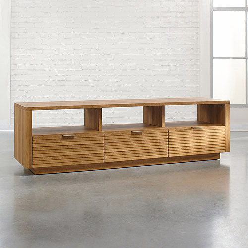 Sauder Soft Modern TV Stand for TVs up to 70;, Pale Oak