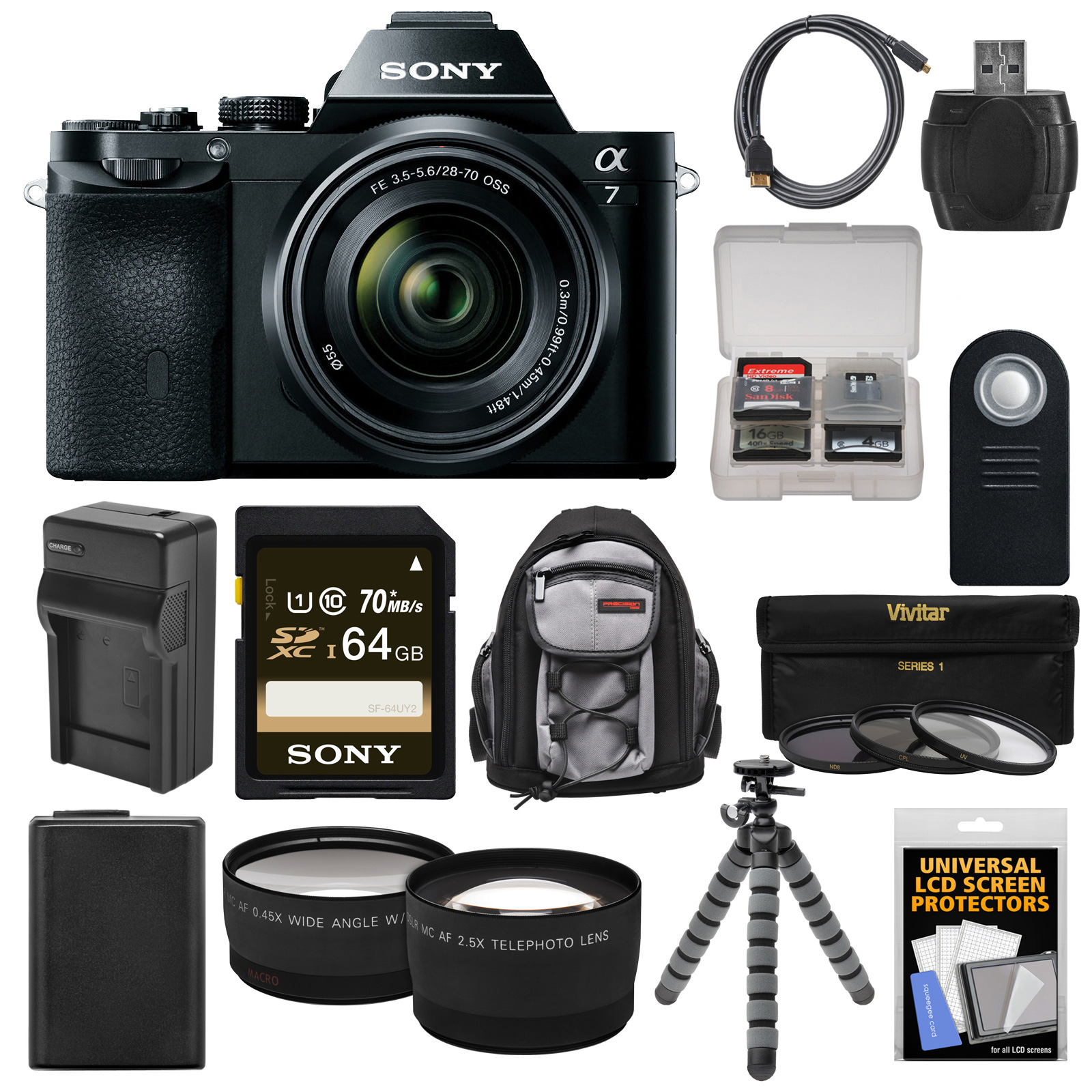 Sony Alpha A7 Digital Camera & 28-70mm FE OSS Lens with 64GB Card + Battery & Charger + Backpack + Flex Tripod... by Sony