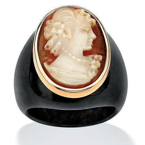 Palm Beach Jewelry Onyx Jade Cameo Ring