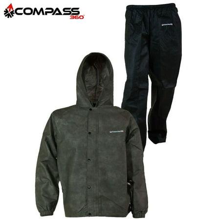 Compass 360 SportTek Rain Jacket & Pants (2X)- Stone/Black