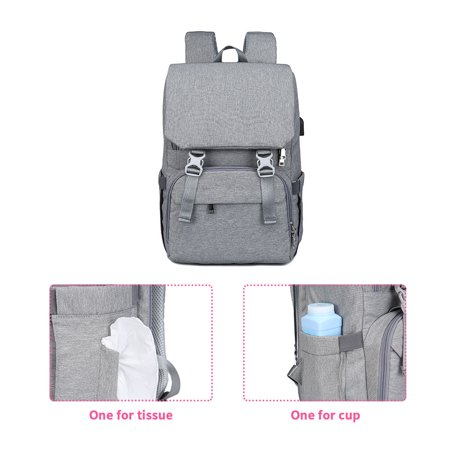Large Diaper Bag Water-proof Travel Backpack Multi-functional Nappy Bags With Stroller Strap USB Charging Port Changing Pad Stylish Unisex Baby Gear for Mom Dad Red