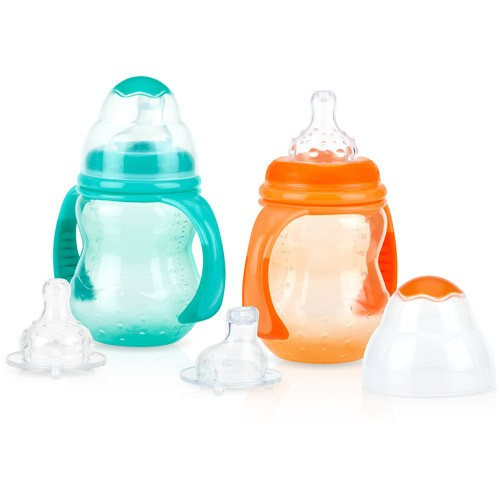 Nuby Grow With Me 3-Stage Soft Spout Sippy Cup - 2 pack