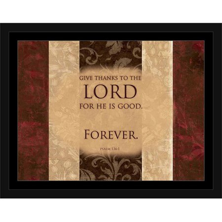 Lord Is Good Forever Psalm Traditional Distressed Panel Religious Painting Brown & Red, Framed Canvas Art by Pied Piper Creative (Brown Red Art)