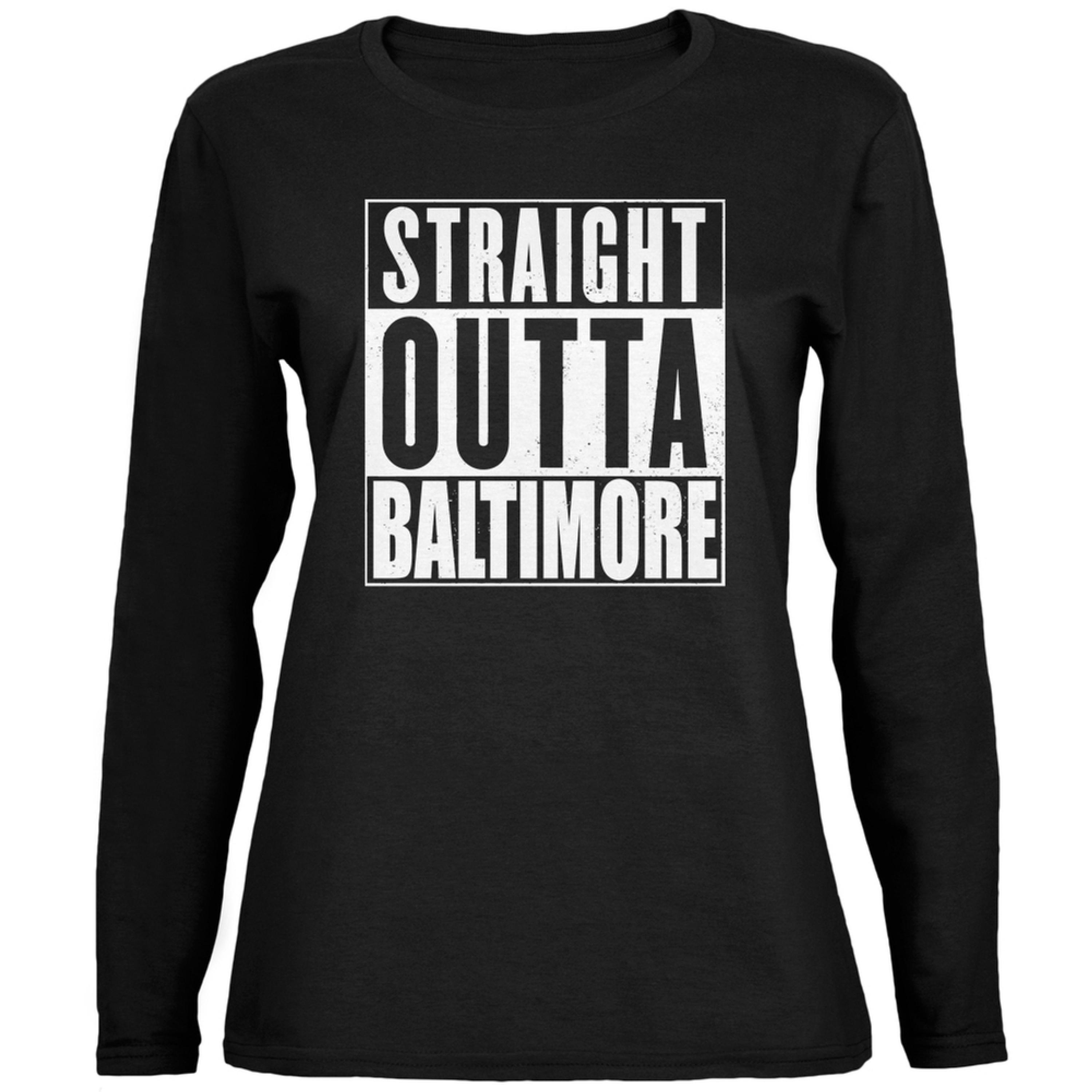 Straight Outta Baltimore Black Womens Long Sleeve T-Shirt