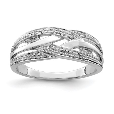 925 Sterling Silver Diamond Band Ring Size 7.00 Fine Jewelry Gifts For Women For Her - image 6 de 6